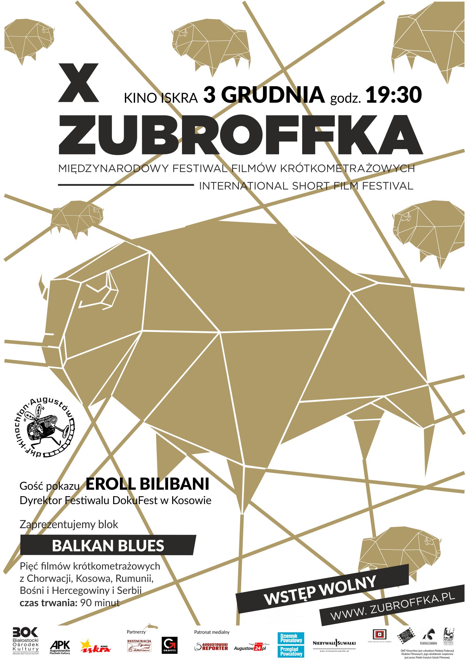 Plakat: Festiwal filmów krótkometrażowych, pięć filmów z Bośni i Hercegowiny, Rumunii, Serbii i Kosowa